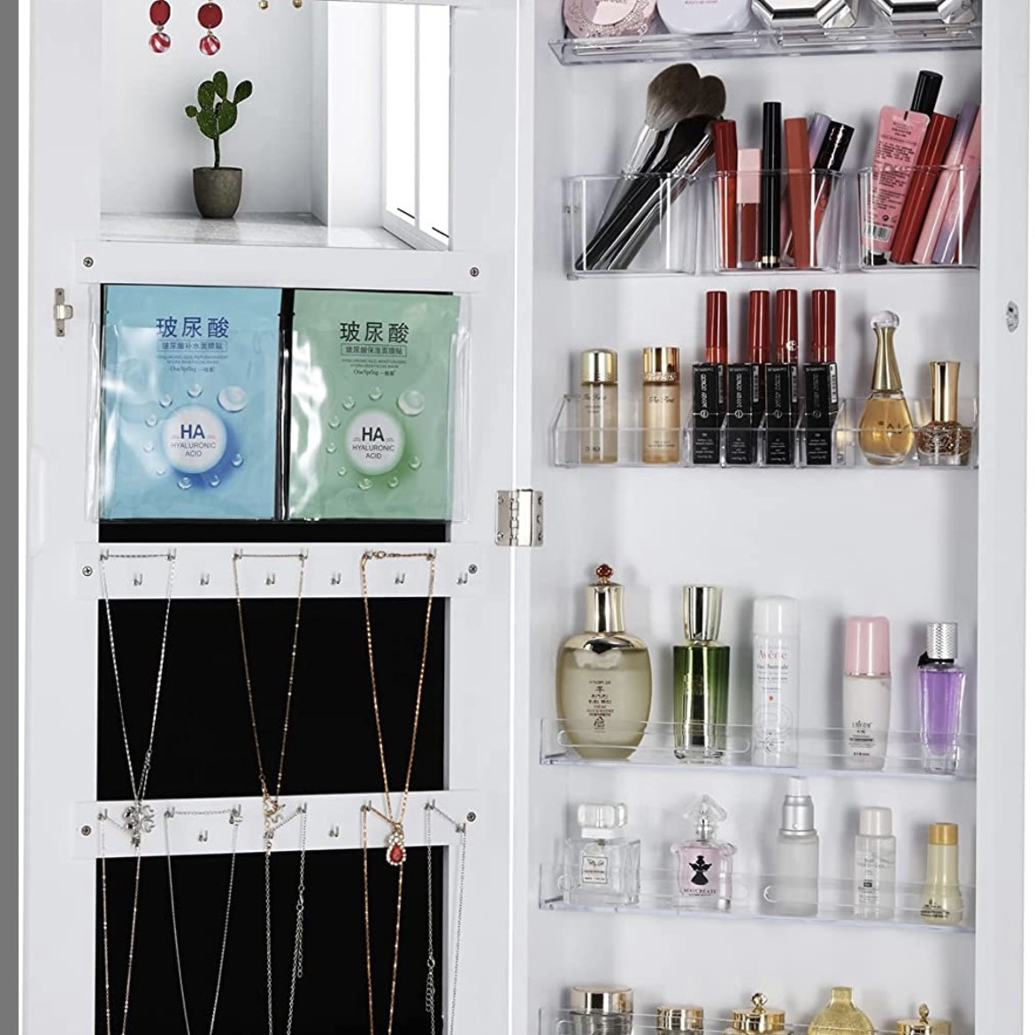 White mirror with jewelry and makeup cabinets