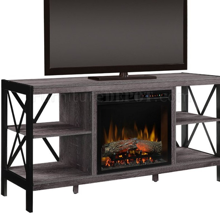 New Barnwood Media Console with Electric Fireplace