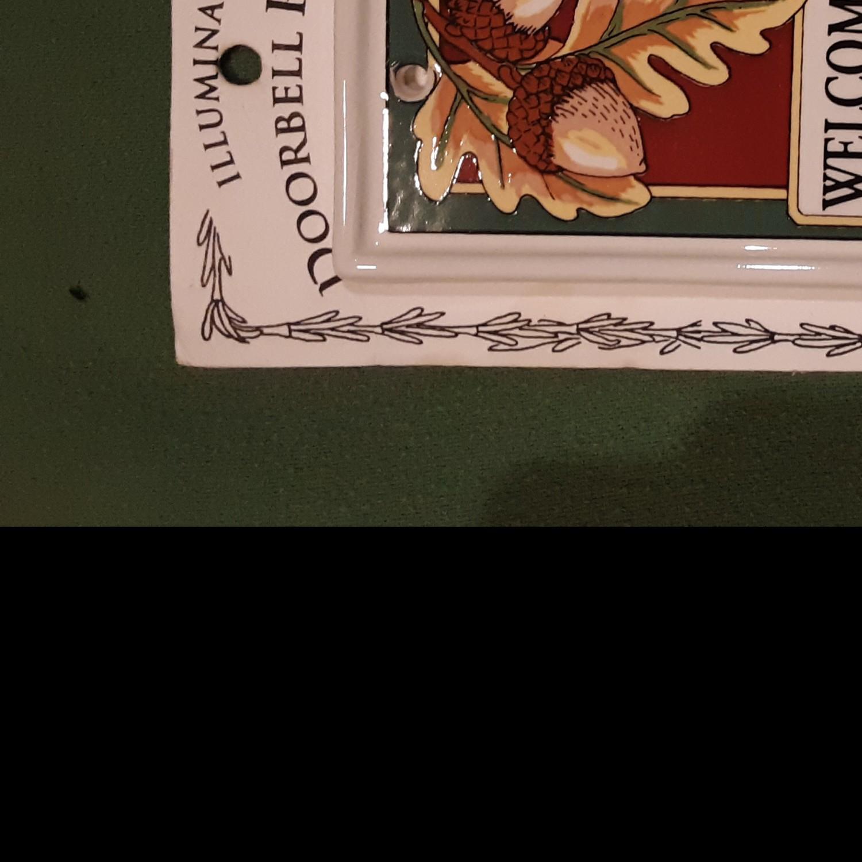 Ceramic Acorn & Oak Leaf Address & Door Bell Plaque