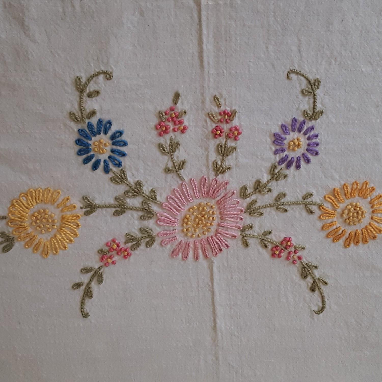 Vintage Floral Embroidered Linen Coverlet