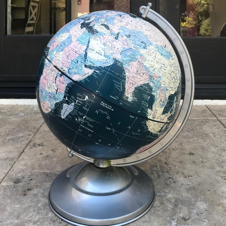 """1950's Replogle Black Ocean """"Starlight"""" 12"""" Globe"""