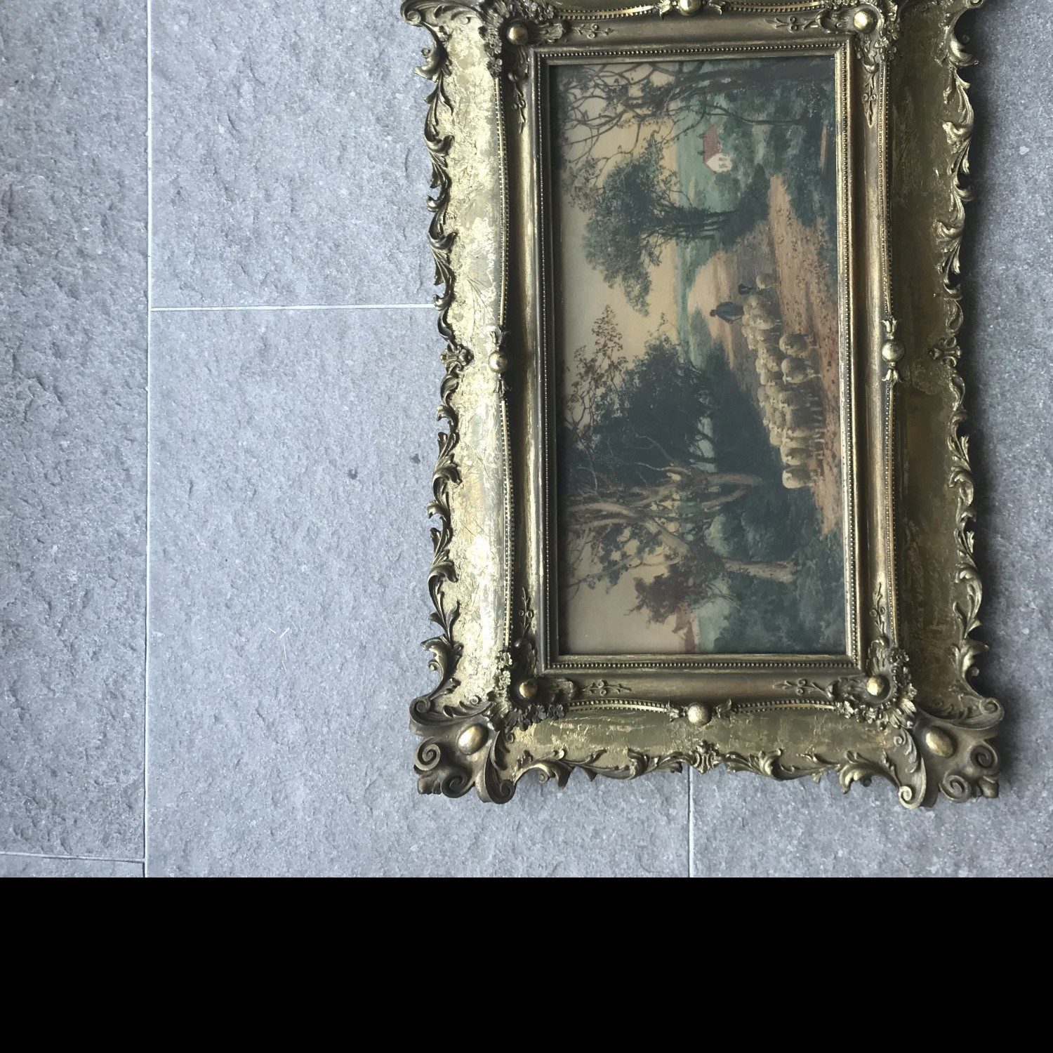small painting of a man and sheep in frame