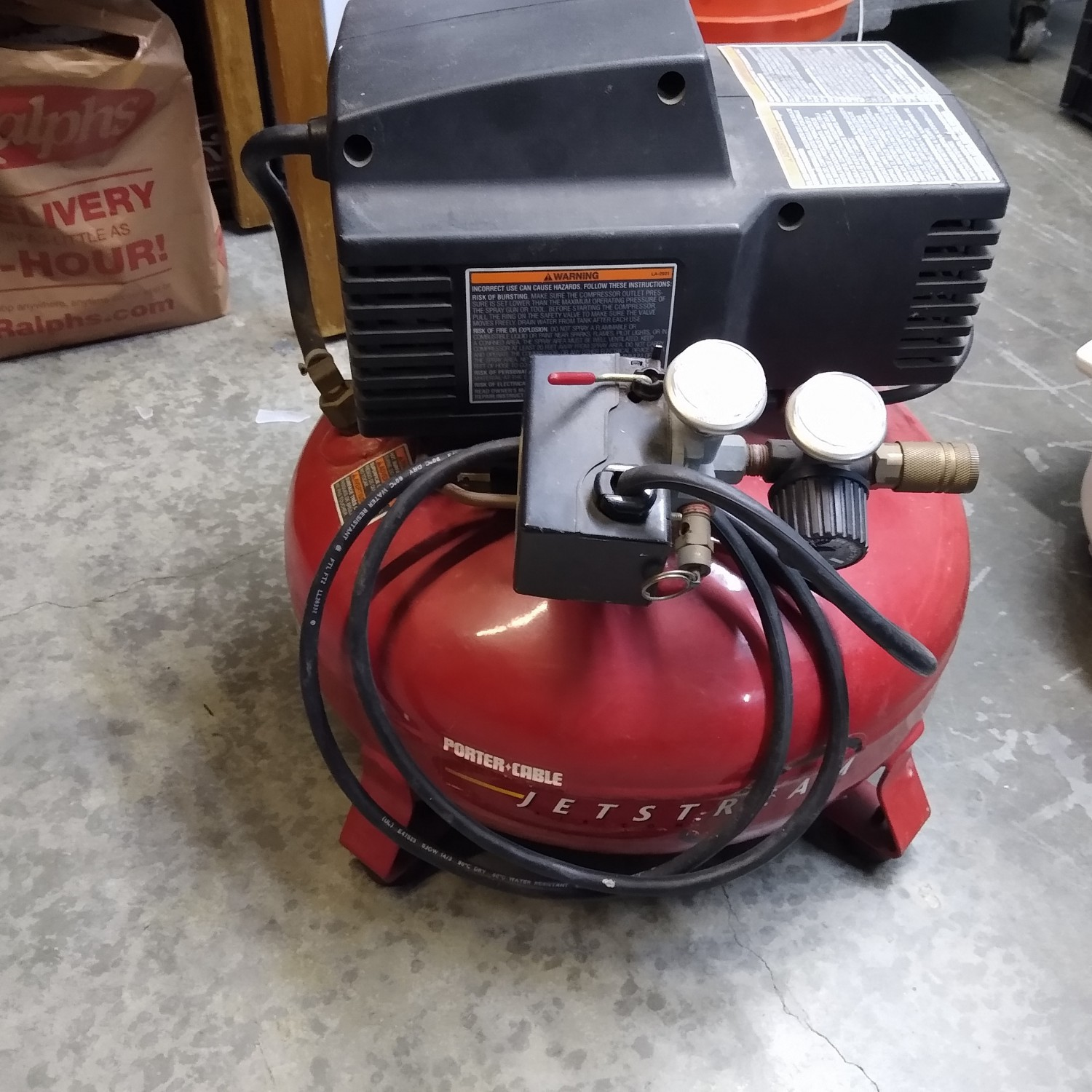 Porter Cable 6 gallon compressor. Works great.