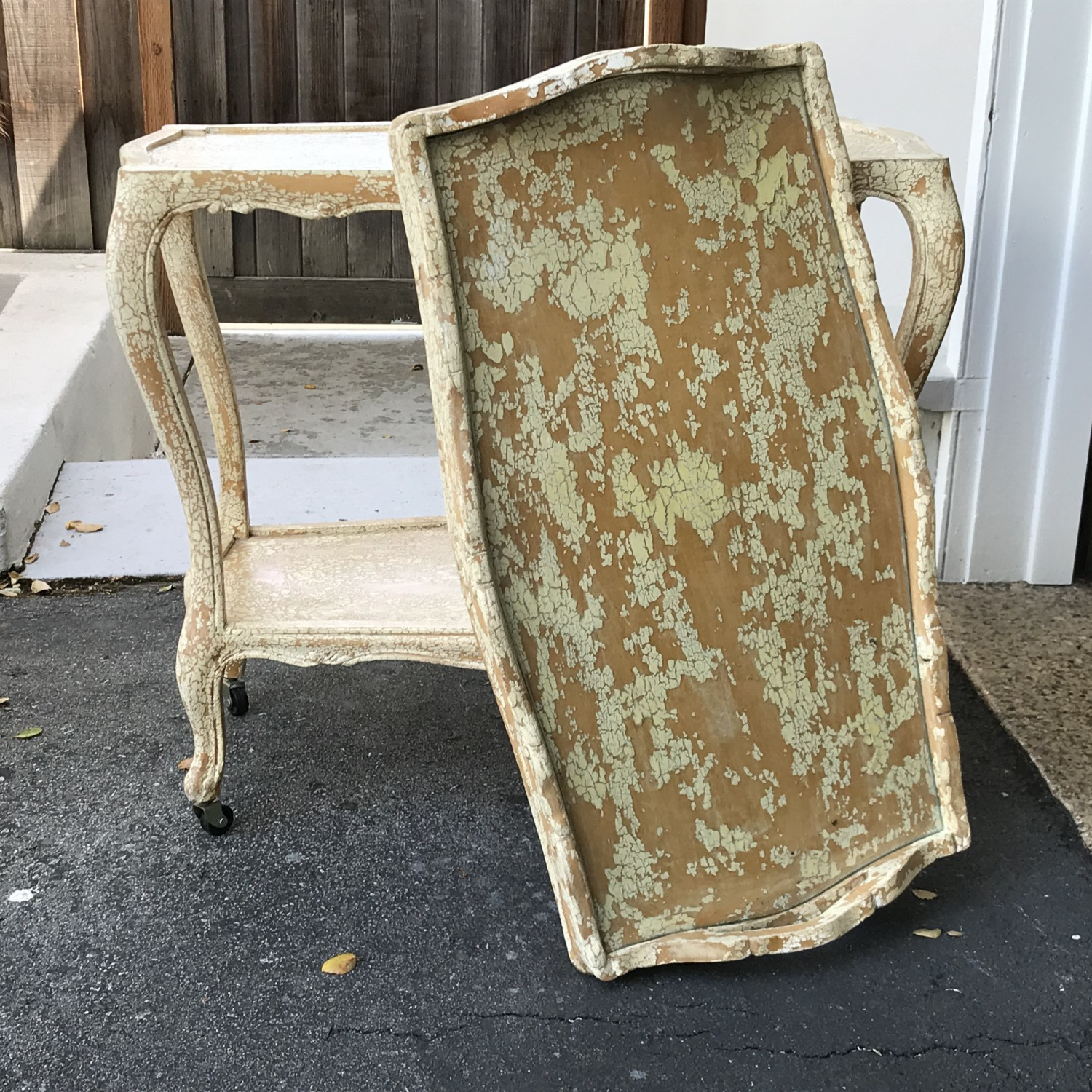KRACKLE TEA CART WITH REMOVABLE TRAY