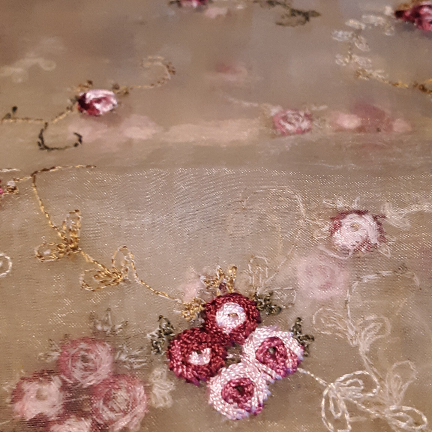 Embroidered Rose Shower Curtain with Lace Trim