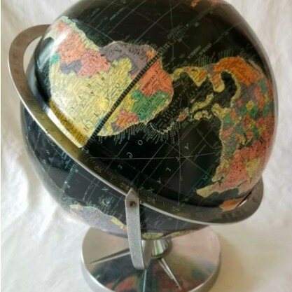 "Vtg Replogle Starlight 12"" Globe 1957 chrome base Rotates from 2 axis points"